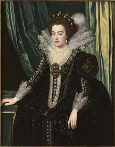 Portrait of Elizabeth, Queen of Bohemia three-quarter-length, in a black bejewelled and embroidered mourning dress with lace collar and cuffs, and an elaborate pearl headdress, her right hand resting on a table and a green curtain beyond Mary Queen Of Scots, Lace Collar, Collar And Cuff, Anne Of Denmark, House Of Stuart, Renaissance, Mourning Dress, Tudor Era, Princess Elizabeth