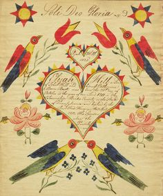 Fraktur by Elijah Hill, 1825.  Pennsylvania Dutch Fraktur were handwritten documents that recorded births, baptisms and marriages, among other life events.