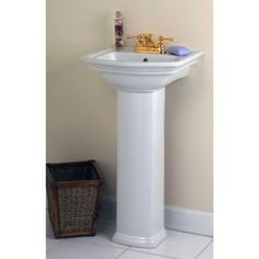 St. Thomas Creations, Marathon 24 In. Grande Pedestal Sink Basin With 4 In.  Faucet Center In White, 5203.042.01 At The Home Depot   Mobile | Pinterest  ...