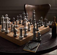 Solid metal chess set.  Chess Baron Canada www.chessbaron.ca