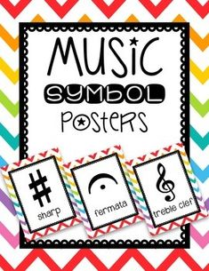 Music symbol posters for your music room! Classroom Posters, Music Classroom, Classroom Themes, Elementary Choir, Music Bulletin Boards, Music Symbols, Music Activities, Music Games, Music Worksheets