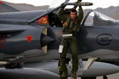 Columbian AF Kfir Pilot Exiting His Aircraft
