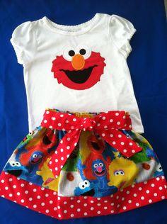 Sesame Street Elmo skirt and shirt set (available on short sleeve shirt only). $39.00, via Etsy.