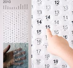 A poster-sized 122cm x 46cm (48″ x 18″ ) calendar with a bubble to pop every day. For those who like popping bubbles (are there any who don't?). The backing is printed either on thick paper or plastic in Helvetica Neue. This calendar is designed and manufactured by Brooklyn, NY Bubble Calendar LLC. #calendar