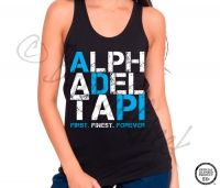 Alpha Delta Pi First Finest Forever Tank - ΑΔΠ Collection. Design Exclusive to BoutiqueGreek.com