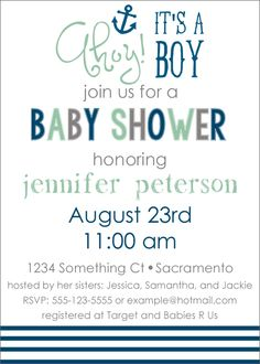Free Printable Nautical Baby Shower Invite