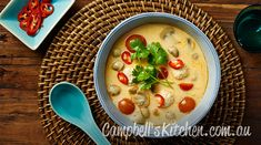 Thai chicken meatball, mushroom and coconut soup