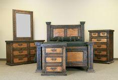 Grand Dark Walnut Bedroom Set Copper Accents Real Wood Rustic