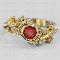 Glorious custom made Hyrule Warriors Legend of Zelda Nintendo inspired game ring with Natural Ruby stone available in Silver.925 or Gold 14K