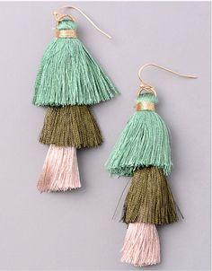 Vintage Snoot Tiered Tassel Earrings in Green