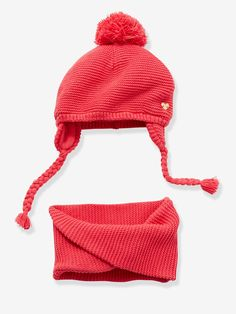 2a836db66856 Bonnet + snood bébé fille rosé vif - Le point de mousse révèle son côté  tendre et mignon sur cet ensemble 100% girly ! Bonnet doublé polaire avec  pompon et ...