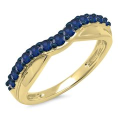 0.55 Carat (ctw) 14K Gold Round Cut Blue Sapphire Ladies Anniversary Wedding Guard Contour Band 1/2 CT * Find out more details by clicking the image : Wedding Ring Enhancers