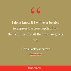 Chris Lacke had intended to keep working through her sarcoma treatment and to not share her cancer diagnosis with many people. But when her treatment left her unable to perform even the smallest of everyday chores, her family and friends who stepped in to help her. Click through to read Chris' story. #endcancer