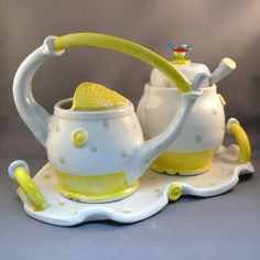 Yellow and White Sugar Bowl and Creamer Set / by BlueSkyPotteryCO, like the tray it comes with to catch drips