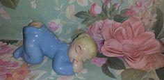 Vintage Pajama Baby Boy in Blue, Porcelain Figurine, Baby Shower, Nursery Decor, Baby Butt, Baby Bottom, Sleeping Baby by JunkYardBlonde on Etsy