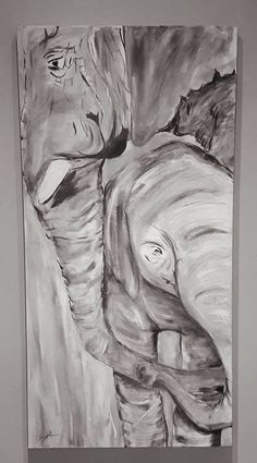 Elephant-kind in b/w by Carrie Kohan Carrie, Carry On, Elephant, Artwork, Painting, Work Of Art, Hand Luggage, Auguste Rodin Artwork, Carry On Luggage