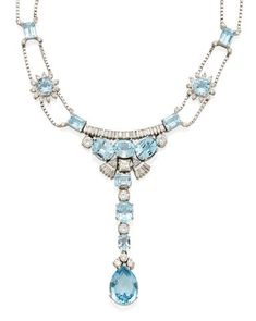 Bonhams Fine Art Auctioneers & Valuers: auctioneers of art, pictures, collectables and motor cars Turquoise Necklace, Gold Necklace, Blue Topaz, White Gold, Jewels, Diamond, Pear, Choices, Quote
