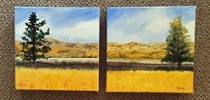 """Summer Hills, Pair.  12x12x2"""" ea.  Together they measure 24x12x2.   $400.00 pair. + shipping Summer Hill, Mindful, Ea, Ship, Paintings, Paint, Painting Art, Ships, Painting"""