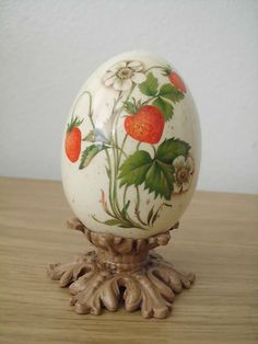 Beautiful Vintage Strawberry Design Hand Painted Ostrich Egg on Stand