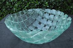 Fused reclaimed glass bowl by FusedGlassCreations on Etsy, $95.00