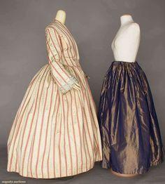 silk brocade maternity dress, c. 1850...1 piece, blue brocaded beige stripes alternate w/ checkered red stripes, partial fan front bodice, narrow bell sleeves w/ blue ribbon trim