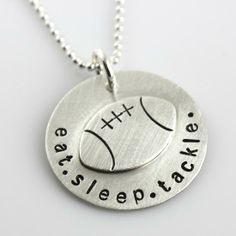Eat. Sleep. Tackle. Hand Stamped and Personalized Necklace by Punky Jane   Hatch.co