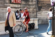 I've always wanted to ride a bike in heels and what better place to do it than at Paris Fashion Week?