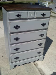 Gray Dresser With Dark Walnut Top Refinished Furniture