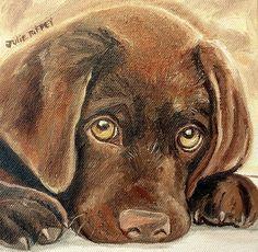 """I'm Sorry - Chocolate Lab Puppy"" by Julie Brugh Riffey #puppy #chocolatelab #labradorretriever"