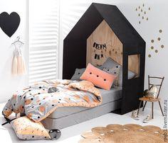 Купить Детская кроватка домик с чердаком - темно-серый, кроватка, детская…