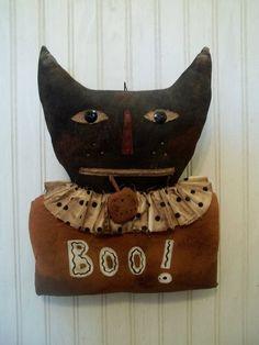 Primitive Grungy Boo! Black Kitty Cat Halloween Door Greeter Doll  eBay ID: 3valentinos https://www.facebook.com/BlackCatPrimitives/