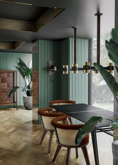 Green Interior Design, Restaurant Interior Design, Contemporary Interior Design, Interior Modern, Interior Design Living Room, Interior Decorating, Contemporary Rustic Decor, Luxury Chairs, Interior Minimalista