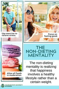 """A """"non-dieting mentality"""" means trusting your body and listening to your instincts. Learn more about escaping the dieting mentality by visiting the link! Colorado State University, Mindful Eating, Food Safety, How To Relieve Stress, Feel Good, Healthy Lifestyle, Healthy Eating, Nutrition, Social Media"""