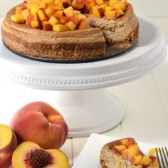 This delicious peach cheesecake is gluten free, lightened up with greek yogurt, and made with no refined sugar. Dessert you can feel good about feeding to your kids! Peach Cheesecake, Cheesecake Recipes, Healthy Desserts, Healthy Cooking, Peach Syrup, Super Healthy Kids, Real Food Recipes, Kid Recipes, Yummy Food