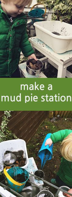 How to make Mud pie station, outdoor activities for kids    Daisies & Pie