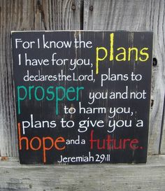 Jeremiah 29:11 For I Know the Plans I Have for You  by WallBling