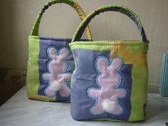Easter rabbits egg basket crochet