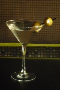 Dirty Vodka Martini w/ Blue Cheese Stuffed Olives