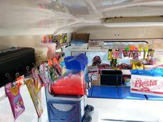 inside ice-cream van Slush Puppy, Ice Cream Van, Cold Drinks, Ice Cream Cart