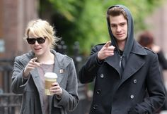 Emma Stone and Andrew Garfield grab coffee in NYC on May 3.