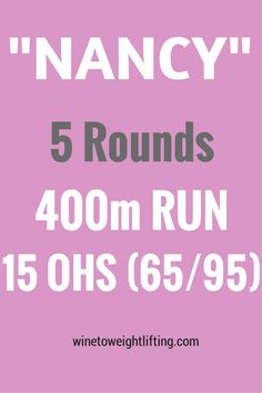 Crossfit Nancy: 5 rounds for time, 400m run, 15 overhead squats at 65 pounds for girls, 95 pounds for guys. For more Crossfit workouts check out @winetoweights at winetoweightlifting.com #crossfit #wod #fitfluential #benchmark #nancy