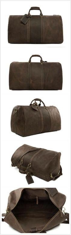 ROCKCOW Large Vintage Retro Look Genuine Leather Duffle Bag Weekend Bag Men's Handbag