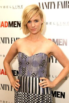 January Jones at the Vanity Fair and Maybelline New York toast to Mad Men at Chateau Marmont. Makeup by Rachel Goodwin. Hair by Renato Campora.