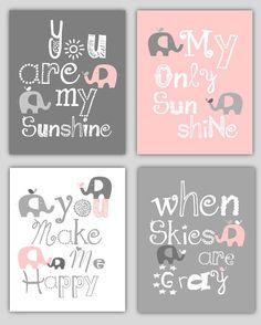Kids Wall Art Pink and Gray Nursery Decor Prints by LittlePergola, $55.00