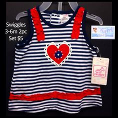 "Swiggles 3-6m Infant Girls 2pc ""Heart"" Romper Set NEW W/Tag $5"