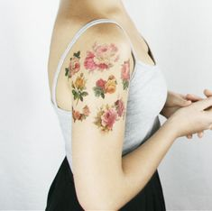Vintage Roses temporary tattoo pack-  from original vintage illustrations, so pretty! by Pepper Ink on Etsy