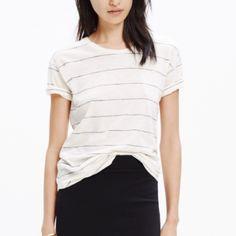 Slub Crewneck Tee Linen color. Stripe. I do not Trade Madewell Tops Tees - Short Sleeve