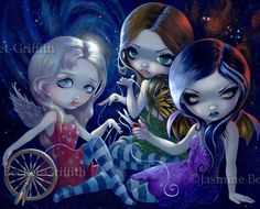 The Three Fates fairy goddess gothic fantasy lowbrow big eye art print by Jasmine Becket-Griffith Jasmine Becket Griffith, Betty Boop, Kobold, Fairy Pictures, Magical Pictures, Moon Pictures, Gothic Fairy, Steampunk Fairy, Fantasy Kunst