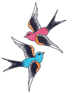 Beautiful Blue and Red Swallows Temporary Tattoos @ TattooedNow