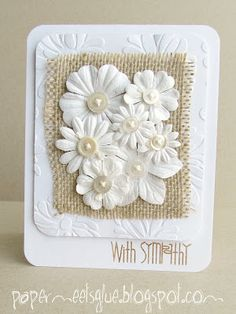 Paper meets glue: love the natural tones Pretty Cards, Cute Cards, Quick Cards, Scrapbooking, Scrapbook Cards, Burlap Card, Button Cards, Paper Smooches, Embossed Cards
